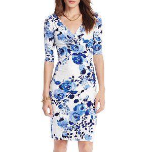 Ralph Lauren blue & white rose faux wrap dress 8